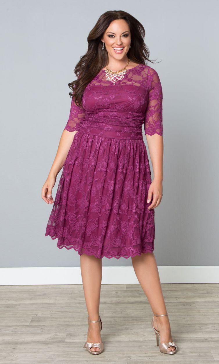 Pink lace plus size dress