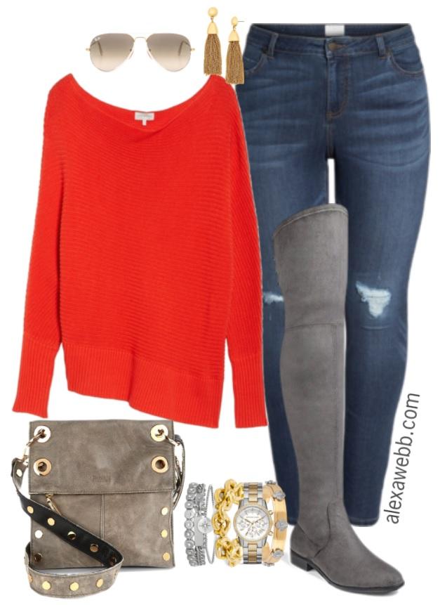Plus Size Orange Sweater Outfit - Alexa Webb